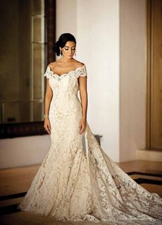 Our interview With Ines di Santo: Leading Lady Of Bridal Couture - Courtney Mazz...  #bridal #Courtney #couture #di #Ines #interview #Lady #leading #Mazz #Santo Spanish Lace Wedding Dress, Off White Wedding Dresses, Spanish Wedding, Dream Wedding Dresses, Designer Wedding Dresses, Bridal Dresses, Wedding Gowns, Mexican Wedding Dresses, Formal Dresses