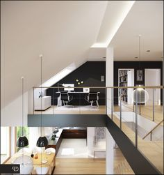 Modern Square Mezzanine Design Ideas: Small Dark Home Office Idea Of Modern Mezzanine Loft Home Design With Attic Ceiling Concept In White Mezzanine Design, Mezzanine Loft, Loft Staircase, Staircase Design, Attic Loft, Attic Stairs, House Stairs, Contemporary Interior Design, Office Interior Design