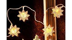 LED-Lichterkette »Schneeflocke« (10tlg.), LED-Lichterkette »Schneeflocke«, In 3-D-Optik, Batteriebetrieben, Inkl. 10-teiliger Lichterkette, Gesamtlänge 1,8 m