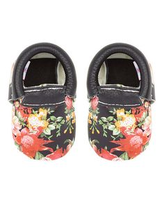 Another great find on Khykouture Black Floral Leather Moccasin by  Khykouture. Aubrey Odom · Kiddo girl shoes 18222556c576