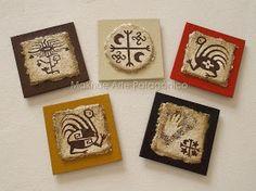 Maknue Arte Patagónico: PORTALLAVES - LLAVEROS - IMANES Native Design, Tribal Art, Stone Art, Paper Mache, Rock Art, Tapas, Decoupage, Polymer Clay, Christmas Crafts
