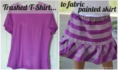 Upcycled Painted T-Shirt Skirt If you stain a shirt, this easy craft will turn that ruined shirt into an adorable skirt.