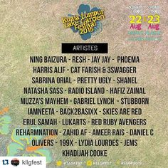#Repost @kllgfest with @repostapp.  Want to know who will be performing at the Lake Garden Festival? Well here is a list of them! Don't miss out on their performances! #kllgf #kllgfest #kllgf2015 #kllgfest2015 #5daystogo