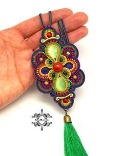 Soutache Pendant, Soutache Necklace, Fabric Necklace, Ribbon Jewelry, Beaded Jewelry, Jewellery, Handmade Necklaces, Handmade Jewelry, Textile Jewelry