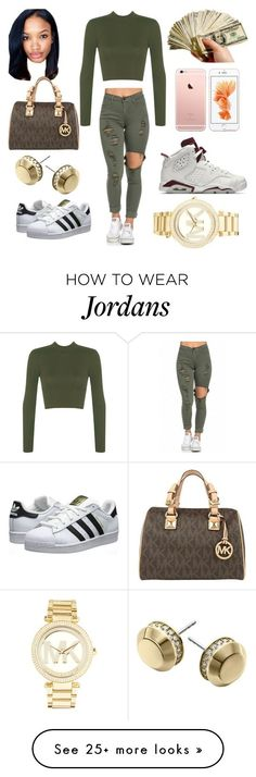 """""""Went shopping for my some Jordan's ⚜"""" by babyblingbling on Polyvore featuring WearAll, adidas Originals, Michael Kors and NIKE"""