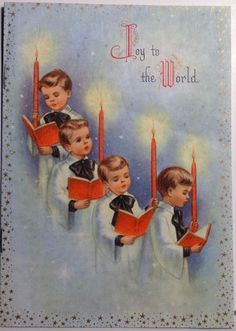 """Joy to the World"" Christmas card with choir boys."