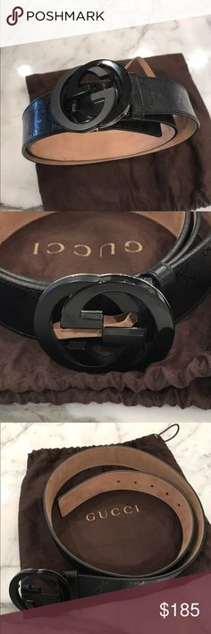 Gucci Men's Black Monogram Belt Men's Gucci monogram belt. Fits sizes 30-32. Comes with dustbag. Worn only twice and in excellent condition. Gucci Accessories Belts