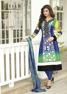 Picture of Sparkling Blue and Green Party Wear Churidar Kameez Pakistani Salwar Kameez, Salwar Kameez Online, Churidar, Bollywood Fashion, Bollywood Style, Party Wear Dresses, Stunning Dresses, Cotton Dresses, Indian Fashion