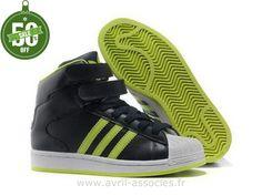 Boutique Femmes Salut Adidas Chaussures Superstar Vert Noir (Adidas Originals Superstar 2)