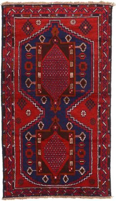 Red 5 x 0 Balouch Rug Small Rugs, Persian Rug, Bohemian Rug, Area Rugs, Runners, Red, Persian Carpet, Hallways, Rugs