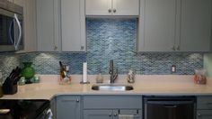 Sample - Rip Curl Green and Blue Hand Painted Glass Mosaic Subway Tiles - - Amazon.com