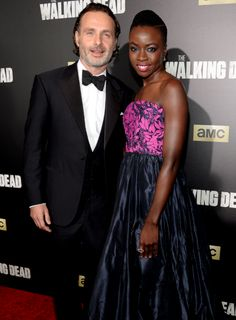 """dailytwdcast: """" Andrew Lincoln and Danai Gurira attend AMC's 'The Walking Dead' season 6 fan premiere event at Madison Square Garden on October 2015 """" The Walking Dead, Walking Dead Season 6, Rick And Michonne, Rick Grimes, Stuff And Thangs, Andrew Lincoln, Daryl Dixon, Black Girl Magic, Actors & Actresses"""