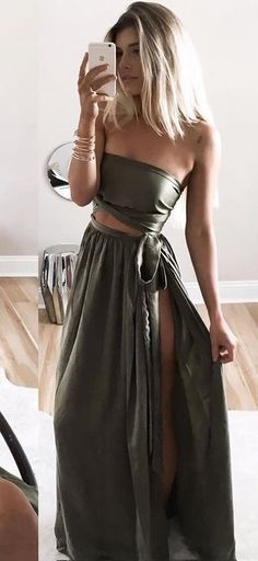 Olive Silk Maxi Dress Source