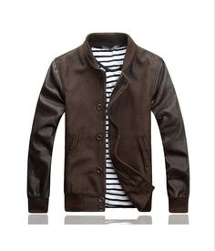 2013 Mens Varsity Baseball Jacket Chocolate