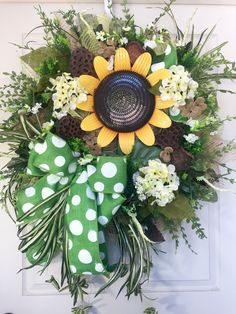 Summer or Fall Sunflower Burlap Mesh Wreath by WilliamsFloral on Etsy https://www.etsy.com/listing/399473675/summer-or-fall-sunflower-burlap-mesh