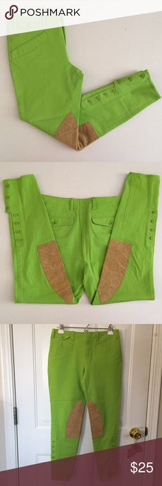 """🆕Listing Ralph Lauren Riding Pants Sz 8 Ralph Lauren Riding Pants In Lime Green and Tan Two Front Pockets and Coin Pocket Two Back Pockets with Button Flaps Belted Waistband Seven Small Buttons on Legs At the Calves Size 8 Approx Meas Flat Lay: Waist: 15"""" Rise: 8.75 Hips: 18.5"""" Inseam: 27"""" 92% Cotton 8% Elastane My Opinion is These Run Small GUC🌺Questions🌺Please Ask🌺 Ralph Lauren Pants"""