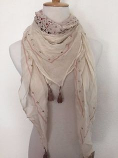 New Authentic Chan Luu Embroidered Tassel Scarf Color: White Swan/Peony  | eBay