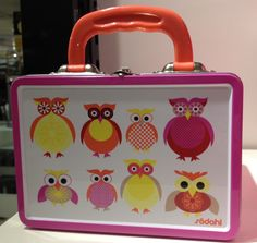 Primarily pink owl lunch box.
