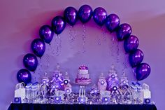 The girls at Velvet Lily Florist styled this gorgeous birthday party for their client Tiarne, who was turning the big The Purple/Lavender colour palette was chosen by the birthday girl, and we opted for a touch of silver for a little extra gla. Lila Party, Purple Party Decorations, Party Centerpieces, Princesa Sophia, Purple Candy, Purple Balloons, Purple Themes, Color Lila, Quinceanera Party