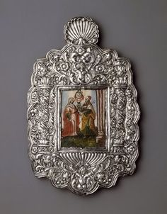 Unknown. The Meeting of Joachim and Anna, 18th century. Oil on paper mounted on copper plate (painting); silver on wood core (frame), frame: 11 7/8 x 7 1/2 x 1/2 in. (30.2 x 19.1 x 1.3 cm). Brooklyn Museum, Museum Expedition 1941, Frank L. Babbott Fund, 41.1275.14 (Photo: Brooklyn Museum, 41.1275.14_SL3.jpg)