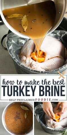 The best Turkey Brine recipe is made with lots of apple cider, salt, and all the. - The best Turkey Brine recipe is made with lots of apple cider, salt, and all the right spices. Apple Cider Turkey Brine Recipe, Best Turkey Brine, Turkey Brine Recipe For Smoker, Oven Turkey Recipes, Smoked Turkey Brine, Turkey Marinade, Best Turkey Recipe, Stuffing Recipes, Best Thanksgiving Recipes