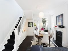 black carpeting on white stairs – smashing! Home Stairs Design, House Design, Gypsy Home Decor, Open Plan Kitchen Diner, Gothic Interior, White Stairs, Kitchen Corner, House Stairs, Living Room Inspiration