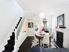 White stairs, black runner.