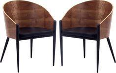 Cooper Dining Chairs Set of 2 EEI-915, Walnut