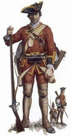 Soldier of the 58th Regiment of Foot, 1757-62. The 58th was one of several units sent to America in '57 in preparation for the attack on Louisbourg, the regiment saw the capture of the fortress and was present at the capture of Quebec the following year. This soldier is shown in marching order. The uniform is unusual for British infantry of the period because the regimental lace is yellow instead of the normal white, and the coat lining is buff instead of white.