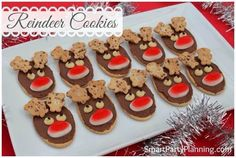 Christmas Reindeer Cookies Recipe on Yummly. Christmas Reindeer Cookies, Easy Christmas Treats, Christmas Biscuits, Christmas Desserts, Christmas Ideas, Christmas Goodies, Christmas Recipes, Christmas Parties, Christmas Crafts