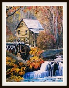 Glade Creek Grist Mill In Autumn, Babcock State Park, West Virginia - Scan Of A Photo - Oil Painting by snc145 by snc145, via Flickr