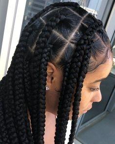 Big Box Braids Hairstyles, Black Girl Braided Hairstyles, Baddie Hairstyles, Braided Hairstyles Updo, African Braids Hairstyles, Girl Hairstyles, Protective Hairstyles, Hairstyle Ideas, Bangs Hairstyle