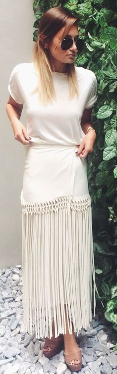 Cris Barros Beige Wrap Fringe Maxi Skirt by We Wore What