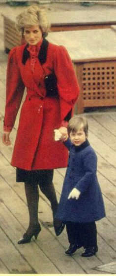Diana & William in 1985 on Prince Andrew's ship. Sarah Ferguson had accompanied them.  Another pinner says this was in 1986 on board the HMS Brazen in London.