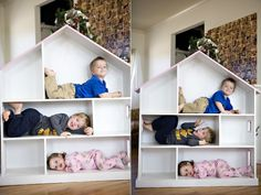Huge doll house. Nice Family photo idea.