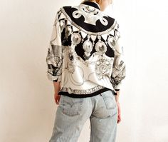 80s Renaissance Women's Shirt. Black & White Luxury Style by Only1Copy on Etsy