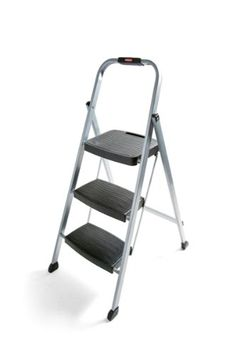 rubbermaid rm3w folding 3step steel frame stool with hand grip and plastic steps 200pound capacity silver finish