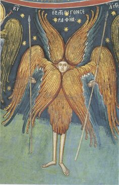 Fresco at the Holy Monastery of Dionysiou (c. 1545), Mt. Athos, Greece / Six-winged Seraphim; Greece .; XVI century