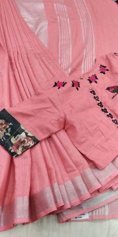 Best 11 Khadi saree with blouse 3500 whatsapp 9047090885 Simple Blouse Designs, Stylish Blouse Design, Cotton Saree Blouse Designs, Blouse Patterns, Khadi Saree, Line Design, Designer Wear, Blouse Models, Vietnamese Dress