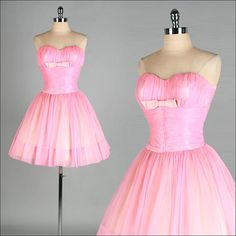 Vintage 1950s Dress  Pink Chiffon  Tulle  by millstreetvintage, $165.00