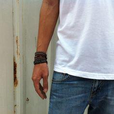DIY: How To Make Chan Luu Style Men's 5 Wrap Bracelet - Antique Gunmetal Wrap Bracelet On Red Brown Leather