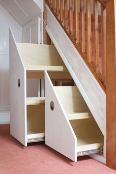37 Attractive Hallway Under Stairs Design Ideas With Storage To Have - Many of us live in houses that have an open area underneath the stairs. This often gets used for shoes or bags or maybe, if there is enough height, fo. Diy Kitchen Storage, Cupboard Storage, Diy Storage, Storage Ideas, Storage Solutions, Space Under Stairs, Under Stairs Cupboard, Staircase Storage, Staircase Design