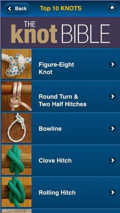 The Knot Bible app - 50 sailing knots Paracord Knots, Rope Knots, Tying Knots, The Knot, Scout Knots, Sailing Knots, Hook Knot, Boating Tips, Survival Knots