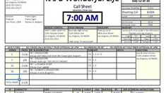 Free Production Docs  Shooting Schedules  Call Sheets