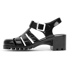 Kassidy Black Jelly Shoe With Cleated Sole (21 CAD) ❤ liked on Polyvore featuring shoes, sandals, black, black block heel sandals, block heel jelly sandals, block heel sandals, jelly sandals and summer shoes