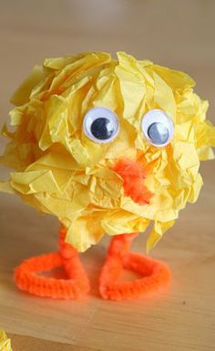 Styrofoam Ball, Tissues Paper, Pipe-cleaners, Easter Chick Kids Crafts