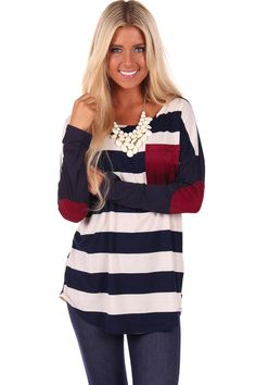 Lime Lush Boutique - Navy Striped Scoop Neck Top with Burgundy Accent, $36.99 (http://www.limelush.com/navy-striped-scoop-neck-top-with-burgundy-accent/)