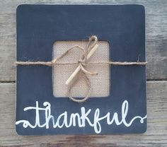 Rustic Thankful Frame  black and white by whatsyoursigndesigns