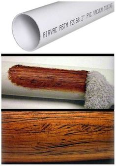 Making PVC Look Like Wood I came up with this simple trick to give PVC pipe a realistic wood texture when I built a few plastic didgeridoos a couple of years ago. It would also work for theater home decor or backyard tiki-bars! This is a simple and cheap Pvc Pipe Projects, Diy Projects To Try, Wood Projects, Woodworking Projects, Craft Projects, Fine Woodworking, Pvc Pipe Crafts, Project Ideas, Diy Projects For Couples