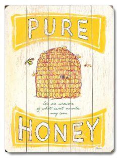 Pure Honey Wood Sign at Art.com